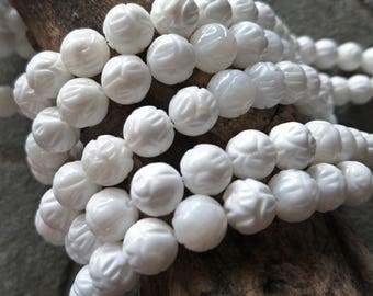 Mother of Pearl beads,Lotus beads,Hand Carved beads,White shell beads,Natural beads,Bracelet beads wholesale supply,16mm Full strands XY077