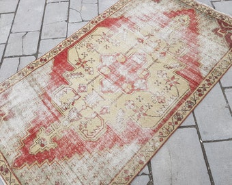 "Vintage Turkish Oushak RUG, 4'2""x7'3"" --- 127 x 223 cm,Oushak Rug,Pale Colors Rug,Distressed-Low Pile Rug,Vintage Turkish Rug"