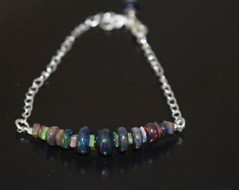Black Ethiopian Opal Beaded Bracelet ~ Sterling Silver and Opal Bracelet~ October Birthstone Jewelry~ Mother's Day Gift Ideas