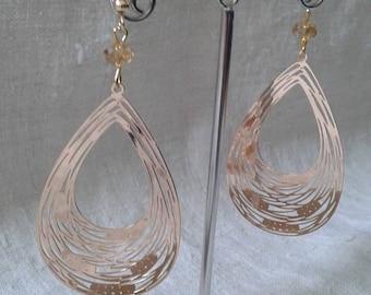 """""""gold metal engraved"""" earrings"""