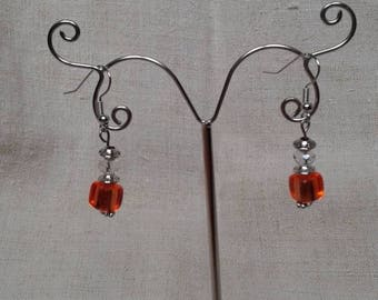 orange square bead earrings