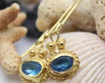 Blue Topaz Earring Handmade 925K Sterling Silver Earring 18K Gold Plated Over Silver