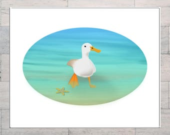 Duck, Paddling Duck, Bird Lover, Paddling in the Sea, Whimsy, Summer Holiday, At the Seaside, Printable, Instant Download, Digital Download,