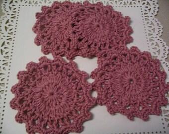 4 Piece Mauve Crochet Coaster Doily Set Tea Coasters Coffee Mug Coaster Home Decor Coaster Collection 5