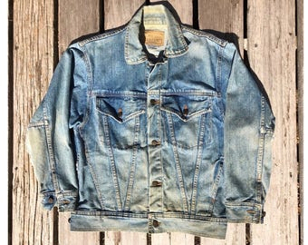 Vintage Distressed Large Jean Jacket by Anzani