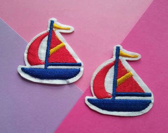 Two Sailboat Iron On Patches/Clothing Patch/Applique/Sewing Supplies/Embroidered Patch/Jacket Patch/Children's Patch