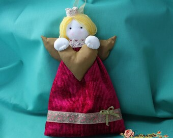 Doll/Ange handmade for decor in shades of Fuchsia and gold