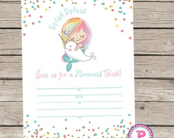 Mermaid Bash Narwhal Pool Party Fill In the Blank style Birthday Party Invitation Instant Download Summer time Swimming Splish Splash 5x7