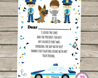Police Birthday Party Fill In Thank You Cards Cops & Robbers Loved the Cake and Present too Thanks for fighting crime with me
