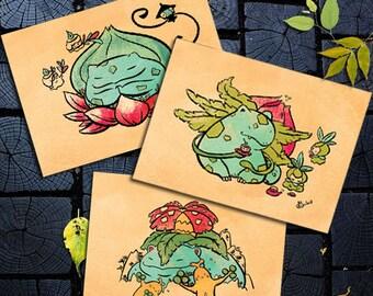 3 Postcards  gift Manga Pokemon Japanese art Bulbasaur, Ivysaur, Venusaur
