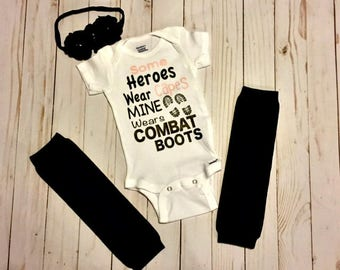Baby Outfit, Baby Shower Gift Idea, Some Heroes Wear Capes Mine Wears Combat Boots, Baby Girl Outfit, Onesie, Army, Marines, Navy, Air Force