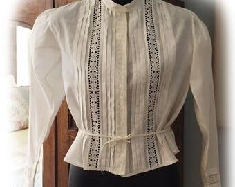 SALE! Vintage Antique Victorian Edwardian White Cotton Blouse Top Lace