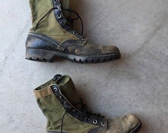 1960s 60s Vintage '65 Rare Early Issued Vietnam Era War Warn Combat Jungle Motorcycle Boots Made In USA (Size 10)