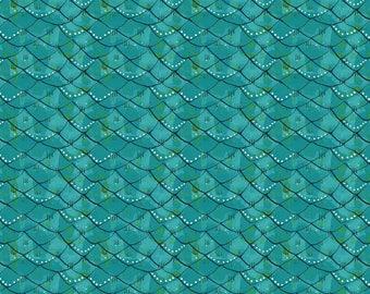 Mermaid Days - Scalloped Turquoise by Cori Dantini for Blend Fabrics - 1 yd