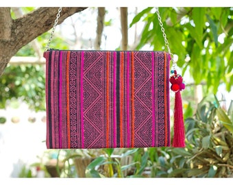 Handmade Bohemian Messenger Bag Cross Body In Red & Pink Color in Thai Style...