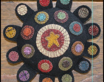 """Quilt Wool Penny Rug Pincushion Star Pattern and KIT -  7 x 7""""   by Primitive Gatherings"""
