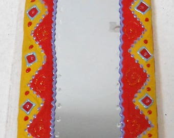 "small mirror painted ""DAKAR"" 29 X 14 cm, yellow, red and purple for the happy home decor"