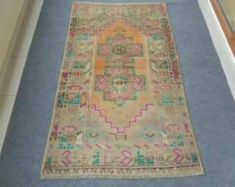 Vintage Oushak Rug, Vintage Turkish Rug, Pastel Color Rug, Vintage Rug, Muted Colors, Oushak Rug, Hand Knotted Rug