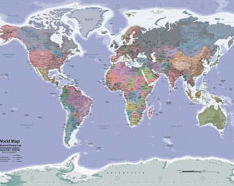 Instant Download - Watercolor World Map -  Political and Physical - 27x40 inches print dimensions
