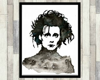 Edward Scissorhands, Johnny Depp, Original Watercolour Painting, Print, Wall Art, Tim Burton, Women's Gift, Fan Art, Pop Art, Men's Gift