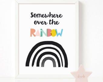 Somewhere over the Rainbow Print, Rainbow wall art, nursery printable wall art, Scandinavian print, nursery decor, nursery art, kids poster