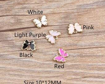 10pcs/lot Enamel Butterfly Alloy Pendant Charms Gold Tone Oil Drop DIY Jewelry Ornament Accessories Phone/ Bracelet/ Necklace Charm