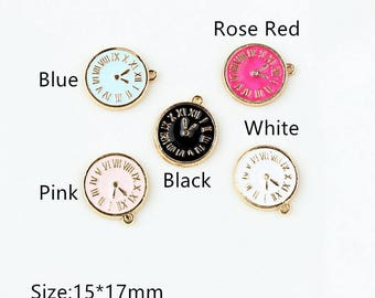 10pcs/lot Clock Charms , Clocks Pendant Jewelry Supplie,Oil Cute Watch Charm Diy Accessories,Phone Bracelet Necklace Pendants, Findings