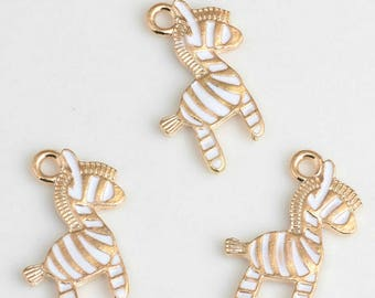 10pcs/lot Unicorn Horse Charm,Gold Enamel Deer Charm,Animal Horse Charms Pendant Diy Jewelry Necklace Pendants Accessory,17*21MM