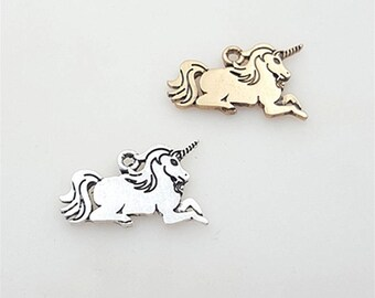20PCS 25*15MM  Vintage Zinc Alloy Unicorn Horse Charms Pendants Diy Handmade Jewelry Findings Accessories Wholesale 2 Colors