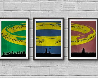 The Lord of the Rings Trilogy Poster Set Minimalist Movie Print WallArtwork Hanging The Fellowship of the Ring Two Towers Return of the King