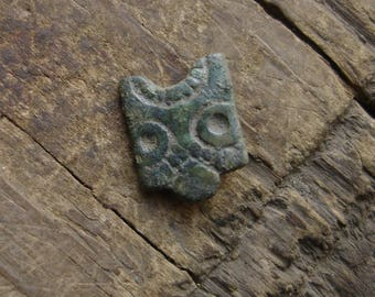 Ancient Viking C. 9th-10th Century A.D. Bronze Belt Mount with Face / Authentic 1,000-year-old artifact