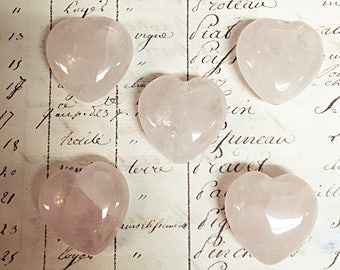 AA quality, 5pcs Rose Quartz Beads, Heart shaped, Faceted Heart, 30mm,