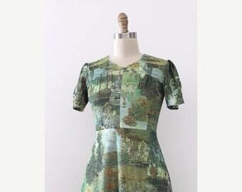 SUMMER SALE vintage 1960s Monet dress // 60s 70s novelty Claude Monet paintings dress