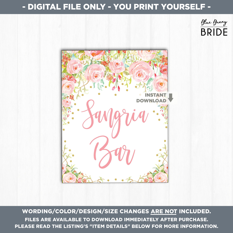 SANGRIA BAR Sign. Pink and Gold Boho Roses Bohemian Bridal Shower ...