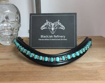 Turquoise and Gunmetal Bling Browband