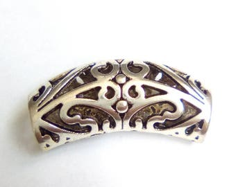 Pearl tube silver metal filigree 32x14mm