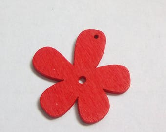 Charm wood 25x25mm red flower