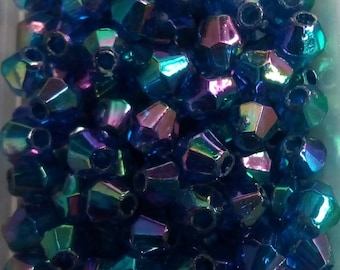 250 faceted bicone beads 4mm blue acrylic