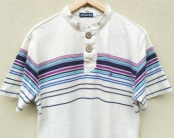 Vintage Hang Ten Stripe tshirt coconut button