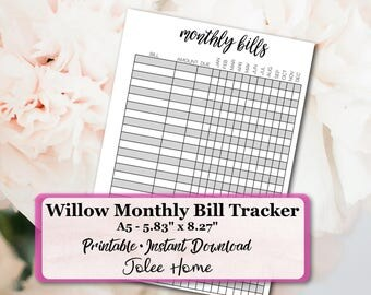A5 Monthly Bill Tracker, Monthly Bill Tracker: Willow Monthly Bill Tracker