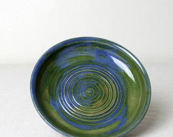 Stoneware Blue and Green Earth Saucer Handmade Pottery