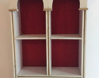 Vintage cream and gold curio shelf. Small curio cabinet. Miniatures display. Dollhouse china cabinet. Nic Nack display. Wall decor shelf.