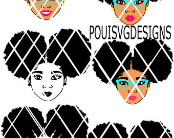 Afro Puffs SVG,Natural hair svg,Silhouette cutting file,African American,Women,Instant download,Black Beauty,Elsa svg, PNG file,DXF file