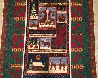 Merry Moosemas Hand Quilted Throw Lap Quilt