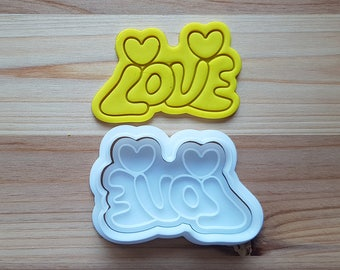LOVE with two Hearts Cookie Cutter and Stamp