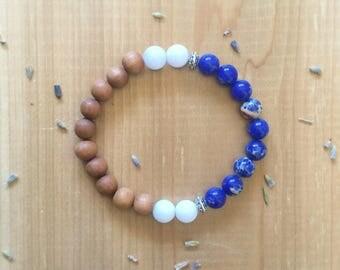 Black Lava Bead Bracelet, Essential Oil Diffuser Bracelet, Sodalite Bracelet, Stress Relief Bracelet, Silver Spacer Bracelet, Birthday Gift