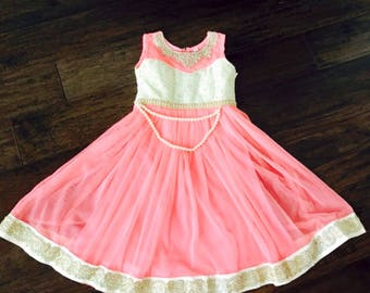 Peachy Pink Girls Indian Dress/ Girls Anarkali Dress/ Kids Girls Long Dress/ Indian Girls Dress
