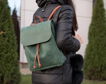 Green Brown Leather Backpack, Women's Backpack, Geniune Leather Backpack, Travel bag, Vintage Leather Backpack, Camera Backpack