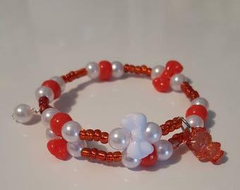 Wrap around memory wire bracelet/girls/children/Red/Hello kitty inspired