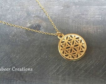 flower of the life necklace, gilded
